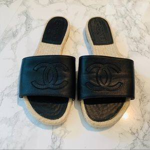 ❌SOLD❌CHANEL Leather Espadrille Sandals
